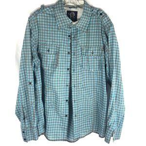 NO RETREAT plaid l/s checked shirt blue gray L